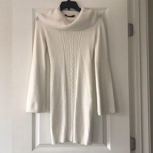 SOLD BCBGMAXAZRIA white cowl neck dress